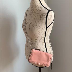 Zara Studded Chain Two Tone Zipper Clutch